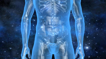 3D Transparent Human Nude Body & Skeleton With Universe Background stock footage