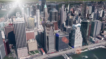 aerial view of New york & sunlight,satellite navigation,spectacular city lan Animation
