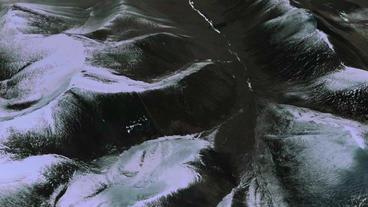 a bird's-eye view of snow mountain plateau,satellite... Stock Video Footage