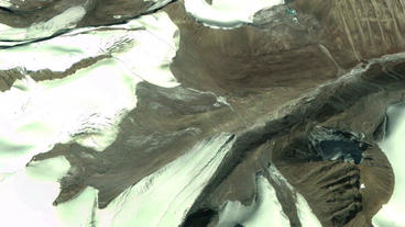 aerial view of snow mountain plateau,satellite navigation Animation