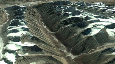 aerial view of snow mountain plateau,satellite navigation Stock Video Footage
