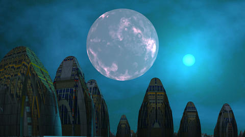 City of aliens, moon and UFO Animation
