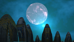 City of aliens, moon and UFO Stock Video Footage