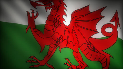 Flag of Wales Stock Video Footage