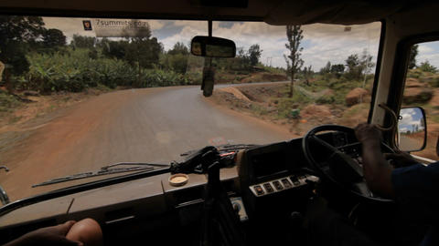 Inside bus view of driver, and road Footage