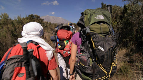 Trekkers headed down the trail towards Kilimanjaro Stock Video Footage