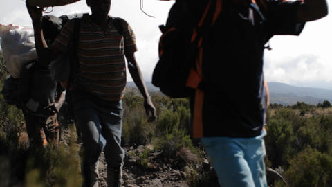 Porters carrying gear down trail Footage