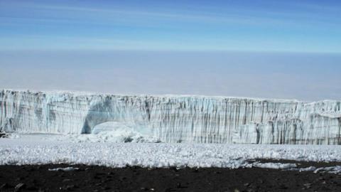Pan of summit glacier Stock Video Footage