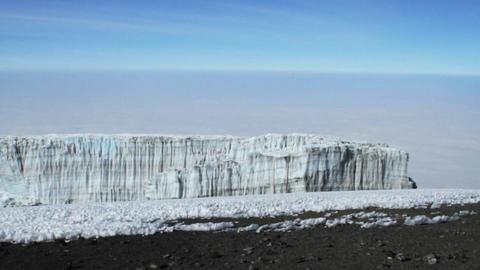 Pan of summit glacier Footage