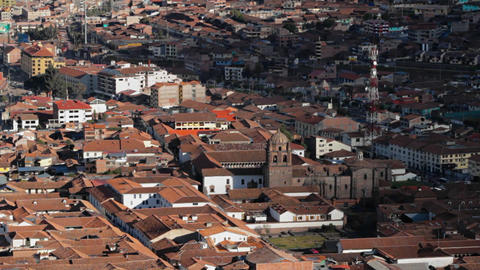 Downtown Cusco from above Stock Video Footage