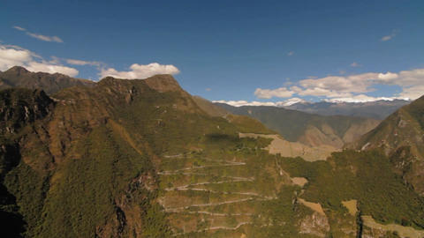 Pan to inca trail and fortress on mountain Stock Video Footage