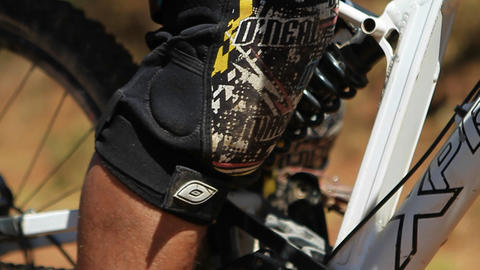 Close-up of bikers foot on the pedal Stock Video Footage