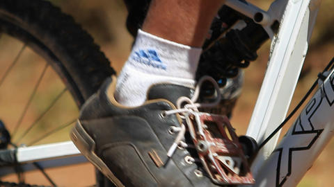 Close-up of bikers foot on the pedal Footage