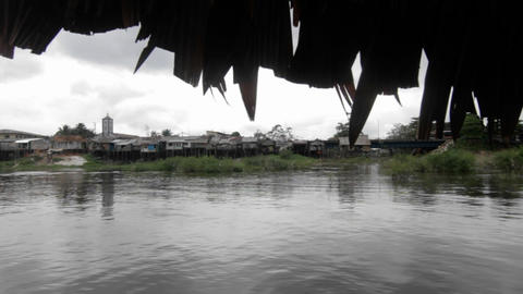 Village view from boat on the river Footage