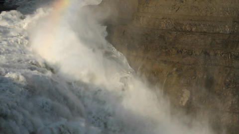 Closer shot of rainbow over waterfall Stock Video Footage