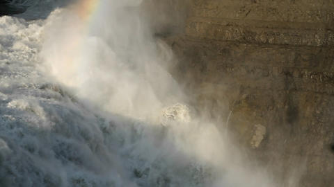 Rainbow at top of waterfall Footage