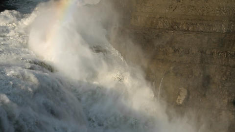 Rainbow at top of waterfall Stock Video Footage