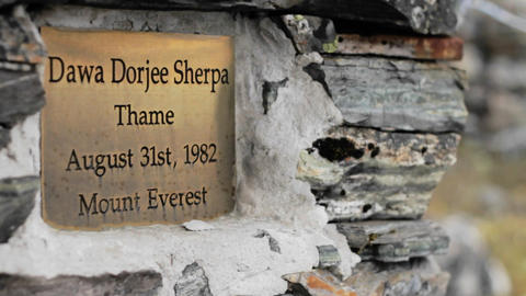 Dawa Dorjee Sherpa plaque Stock Video Footage