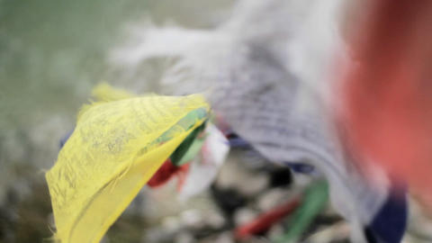 Focus from prayer flags to chorten Stock Video Footage