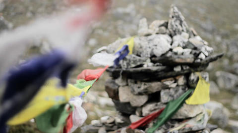 Focus from prayer flags to chorten Footage