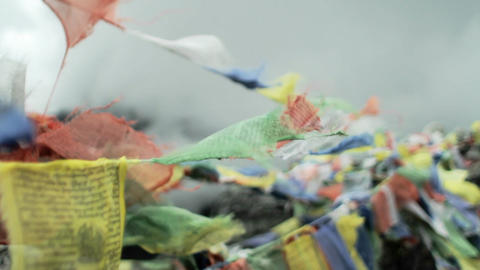 Sharper focus of prayer flags Stock Video Footage