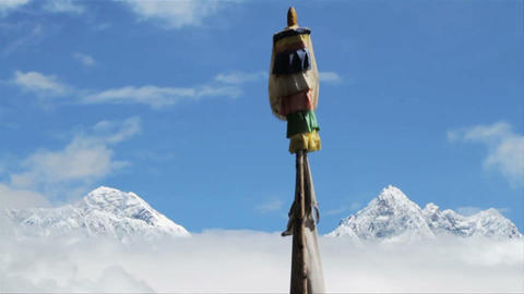 Everest and Lhotse from Deboche Stock Video Footage