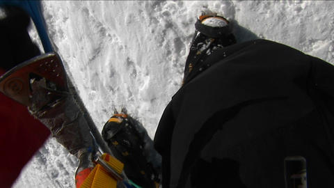 POV of climber on steep slope Footage