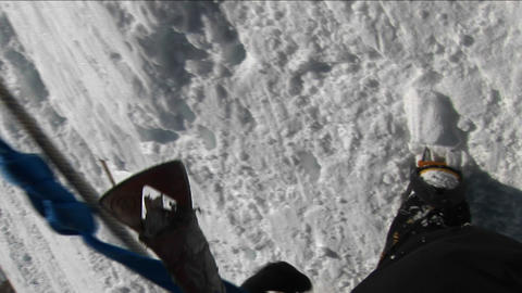 POV of climber on steep slope Stock Video Footage