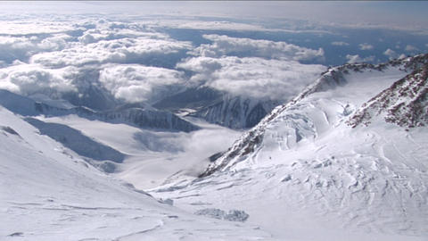 Looking out from high on Denali Stock Video Footage