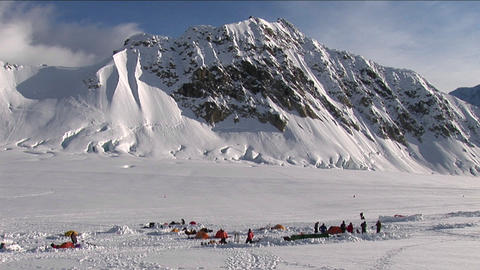 Denali basecamp in the morning Stock Video Footage