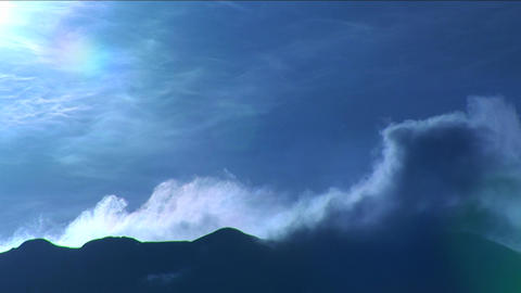 Clouds blowing over ridge Footage