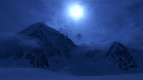 Mountain in pale blue light and cloud Stock Video Footage