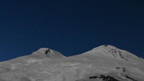 Meteor shower over Mount Elbrus Stock Video Footage