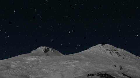 Meteor shower over Mount Elbrus Stock Video Footage