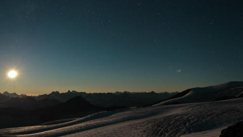 Sun setting over Caucasus range. Stock Video Footage
