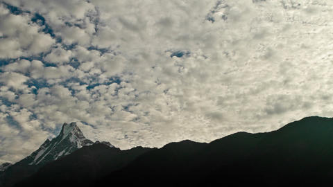 Clouds moving overhead Fishtail Mountain Stock Video Footage