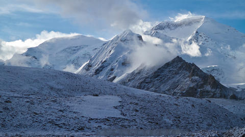 View of Cho Oyu from Nomad encampment Stock Video Footage