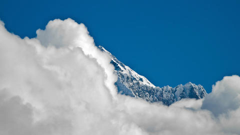 Close shot of Everest summit with clouds Footage