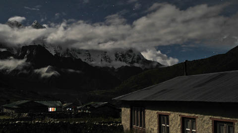 Pheriche village at night with clouds rolling Stock Video Footage