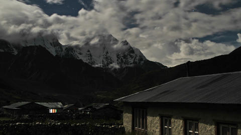Pheriche village at night with clouds rolling Footage