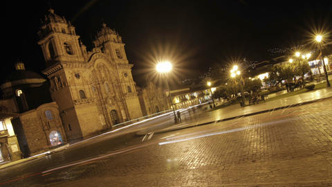 Plaza de armas at night in Cusco Stock Video Footage
