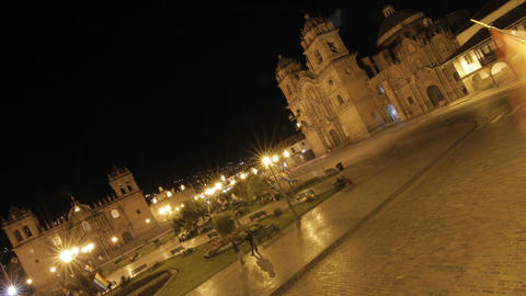 Plaza de armas at night in Cusco, cars passing by Footage