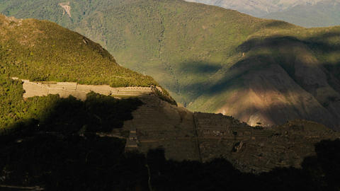Machu Picchu from a distance in shade Stock Video Footage
