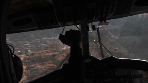 Landing at lukla airport Stock Video Footage