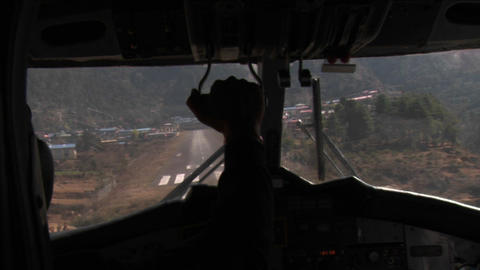 Landing at lukla airport Footage