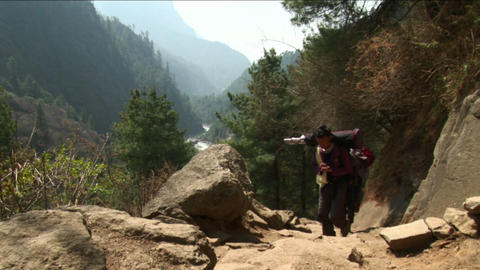 Porters coming up the trail Footage
