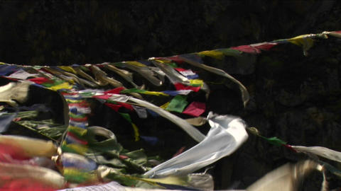 Prayer flags streaming in the wind Stock Video Footage