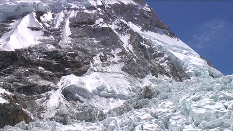 Tilt down from peak to Khumbu icefall Footage