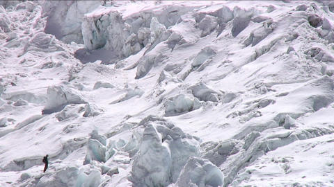Climbers in the icefall Stock Video Footage