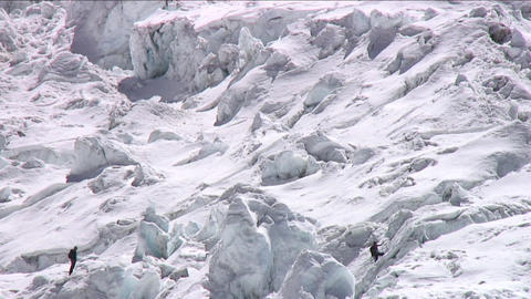 Climbers in the icefall Footage